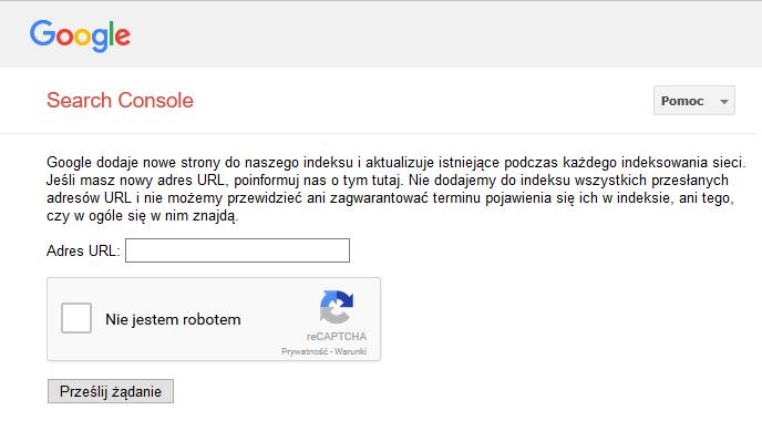 dodawanie strony w google